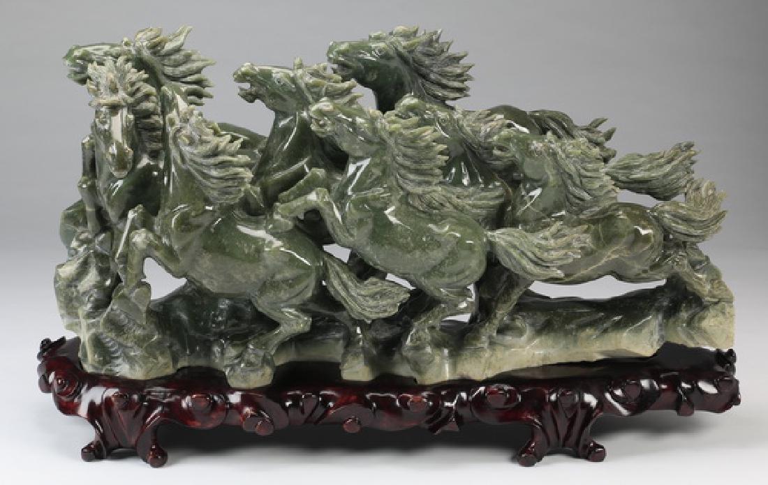 """Jade sculpture 'Eight Horses of King Mu', 35"""" long"""