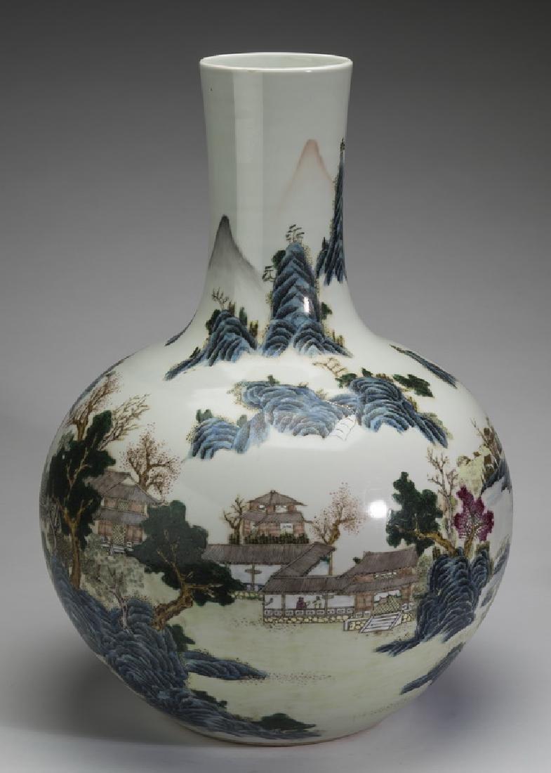 Chinese famille verte bottle vase w/ landscape scene