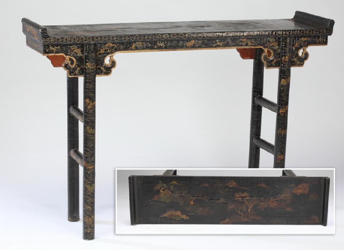 "Chinese polychrome lacquer altar table, 47""l"