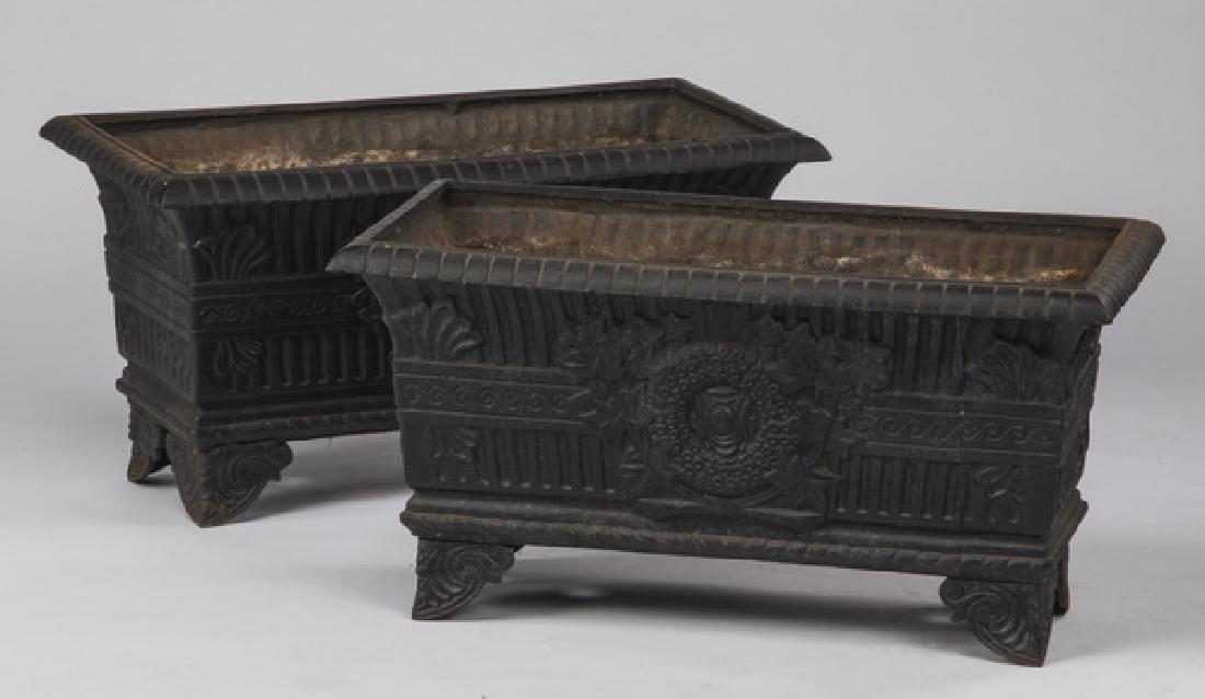 """(2) Cast iron jardinieres in the French taste, 28""""w"""