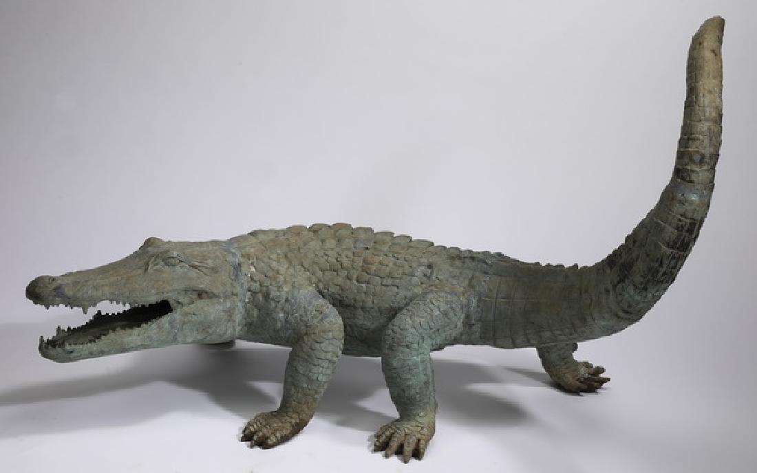"Patinated bronze sculpture of an alligator, 42""l"
