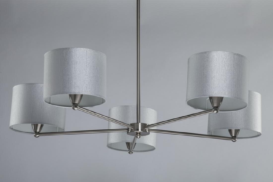 """Starburst chandelier w/ silver shimmer shades, 44""""h"""