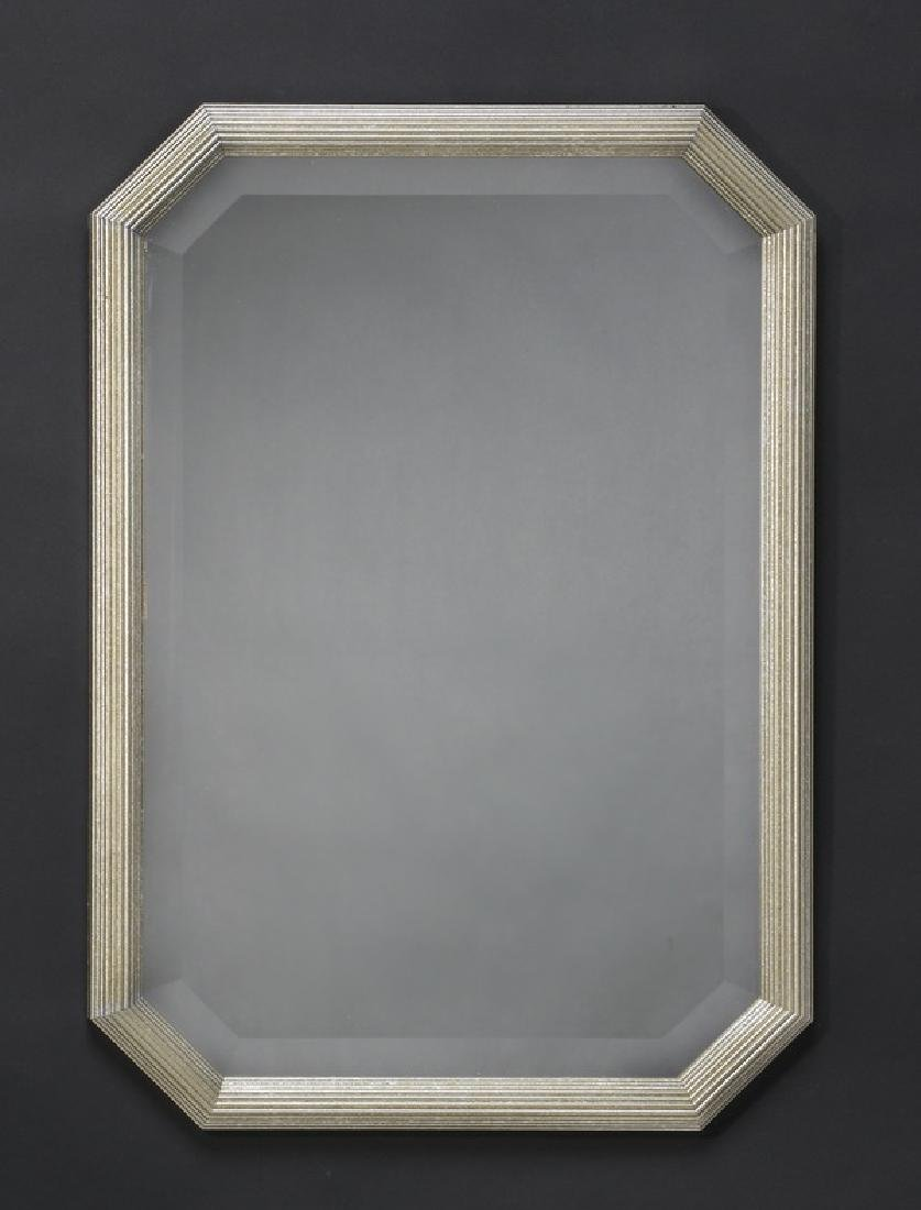 Italian beveled mirror with silver frame