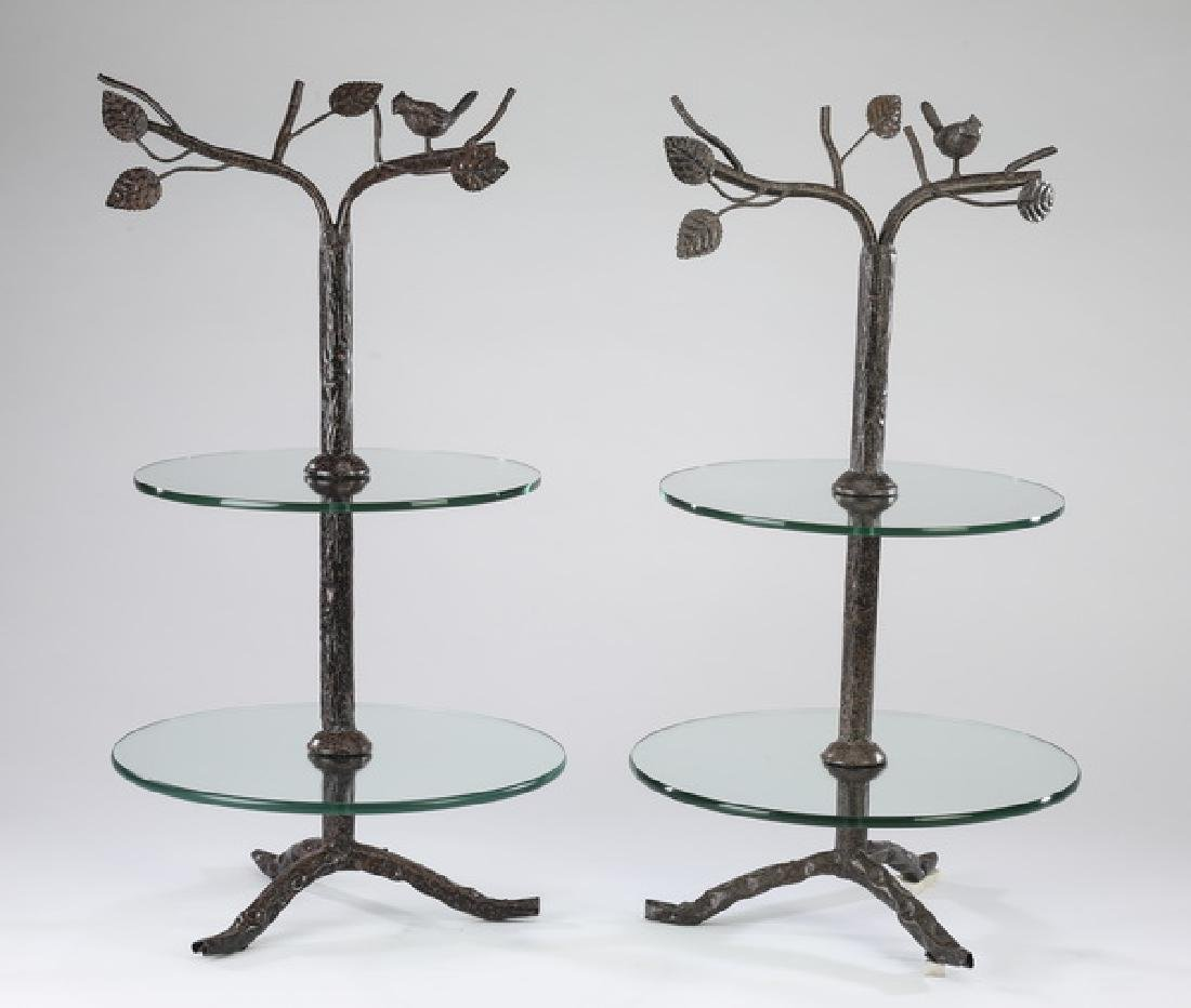 (2) Contemporary figural tree w/ bird tiered stands