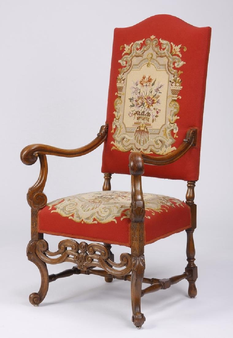 19th c. carved walnut armchair in needlepoint