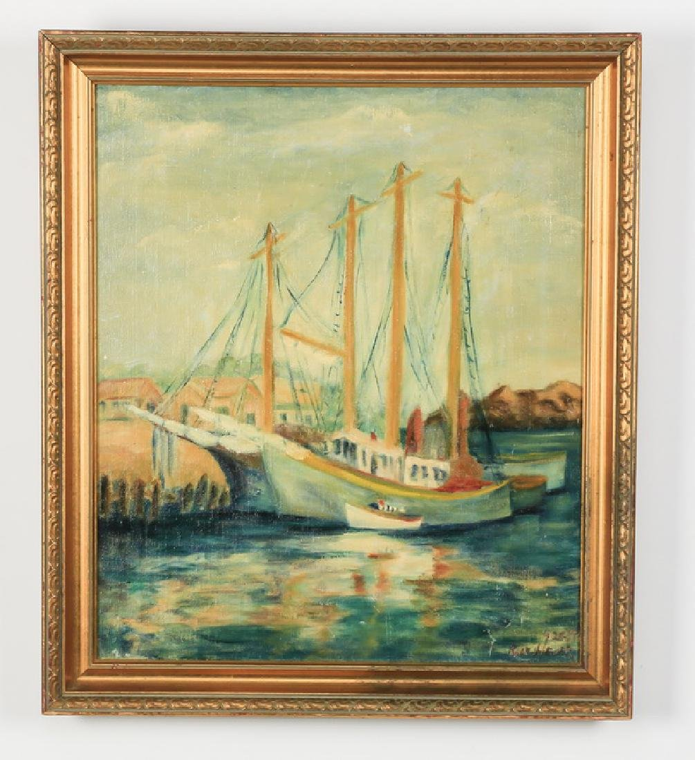 American O/c of two sailboats, signed, dated