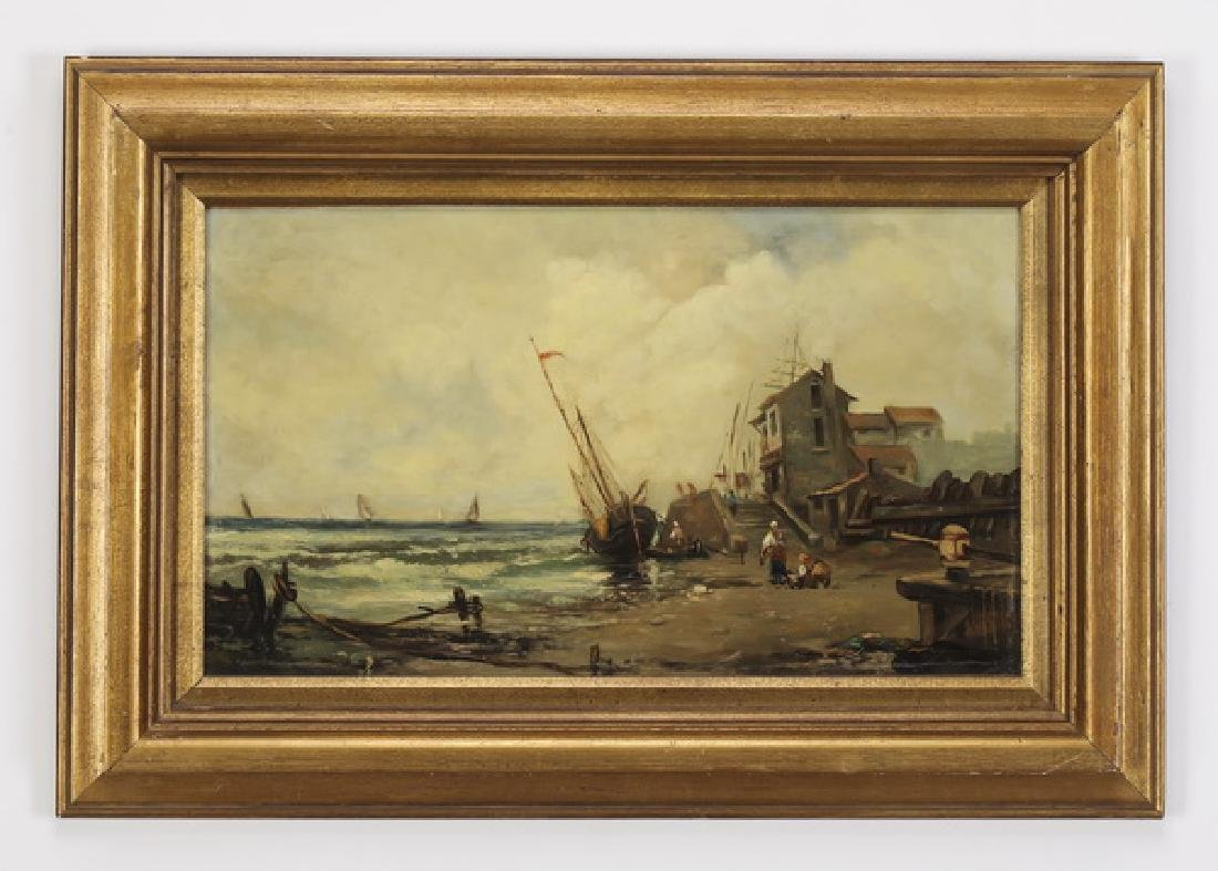 Late 19th c. Dutch School O/c of fisherwomen, signed