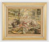 Serigraph on board of shrimp boats in rocky water