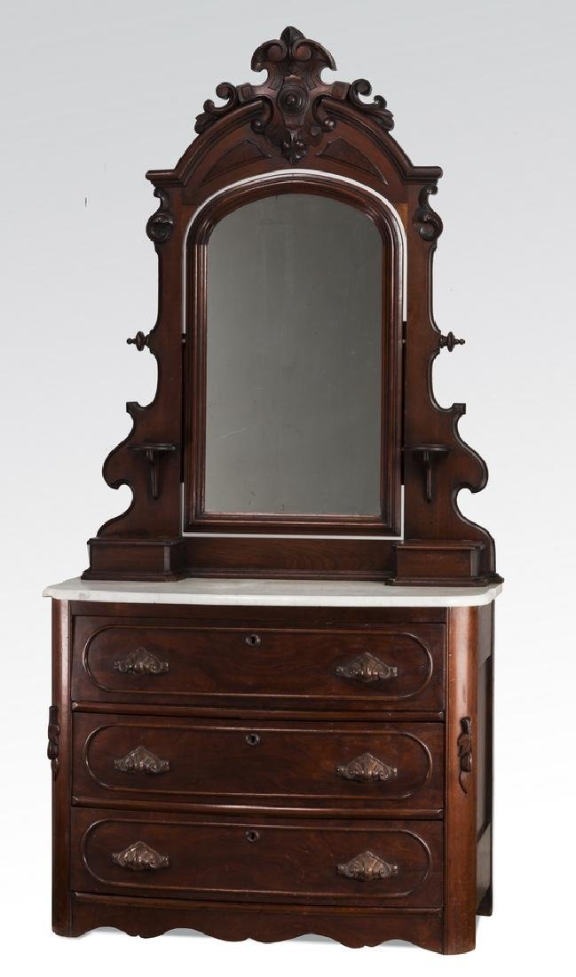 "19th c. mahogany marble top chest with mirror, 86""h"