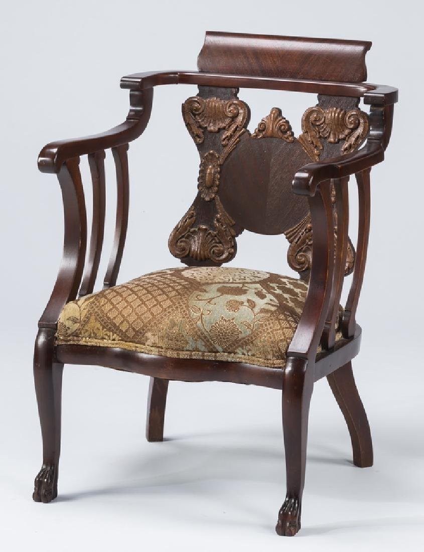 19th c. captain's chair, w/ newly upholstered seat
