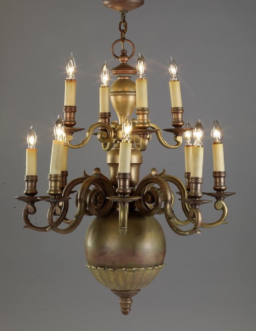 Late 19th c. American 12-light brass chandelier