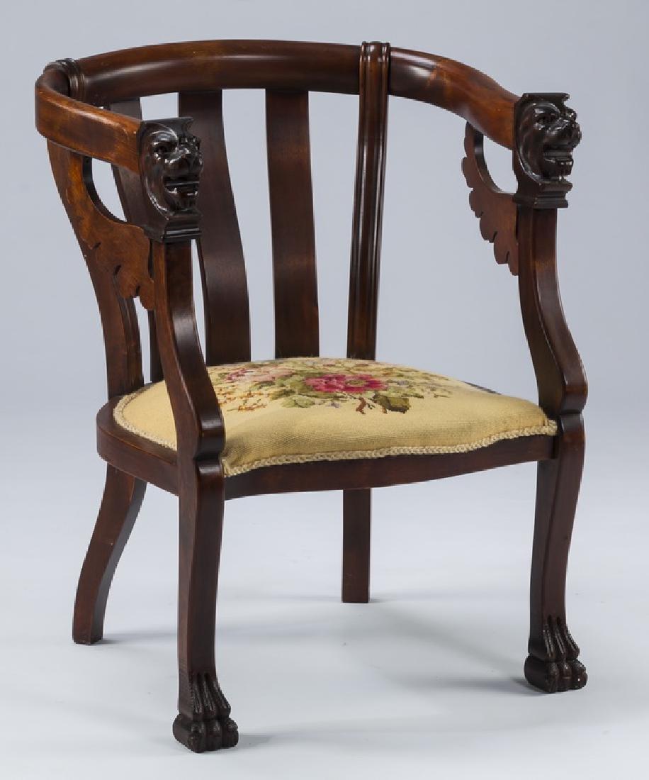 19th c. mahogany armchair, w/ needlepoint seat