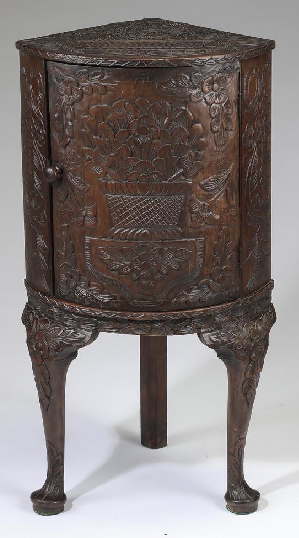 Diminutive 19th c. Jacobean style oak corner cabinet