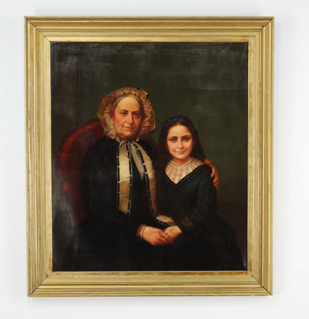 19th c. American O/c portrait of matron & young girl