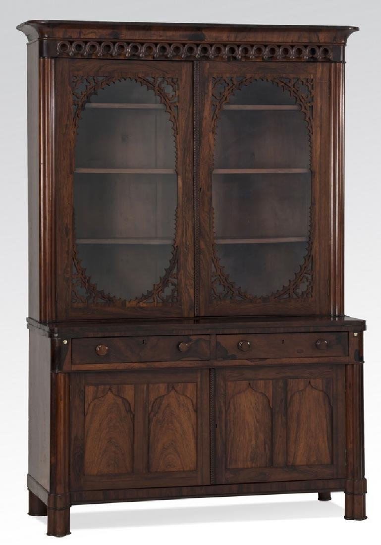 "19th c. two-part rosewood secretary desk, 78""h"