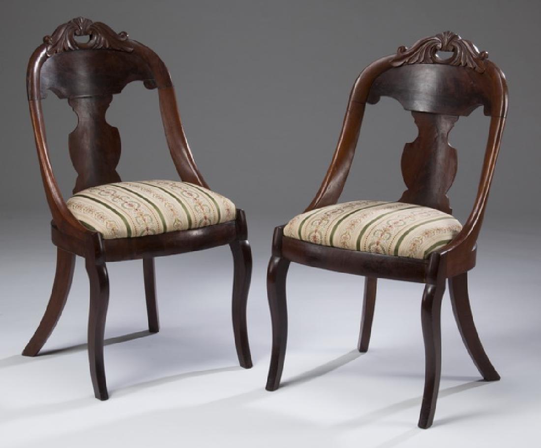 """(2)  Empire style mahogany gondola chairs, 35""""h"""