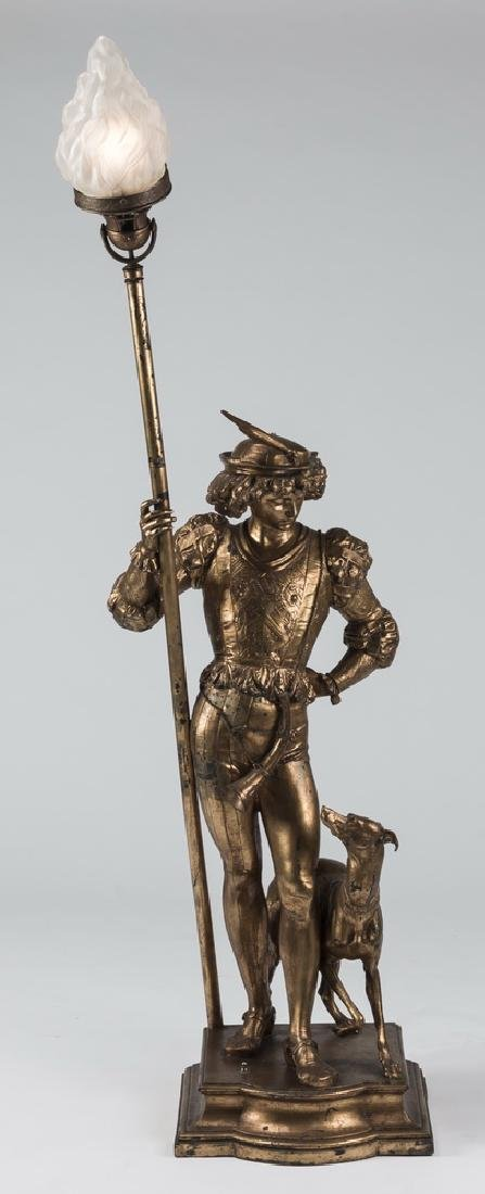 Gilt metal figural floor lamp, w/ hunter & hound, 66""