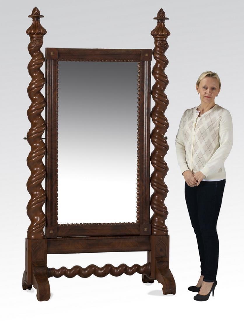 """Dressing mirror w/ dragon barley twist supports, 83""""h"""