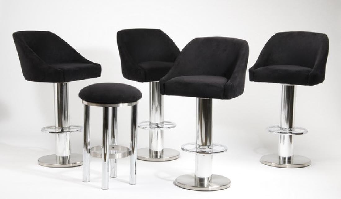 (5) Contemporary swivel bar stools in ultra suede