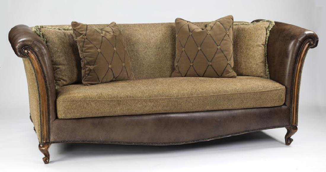 Custom contemporary brown leather & tan chenille sofa