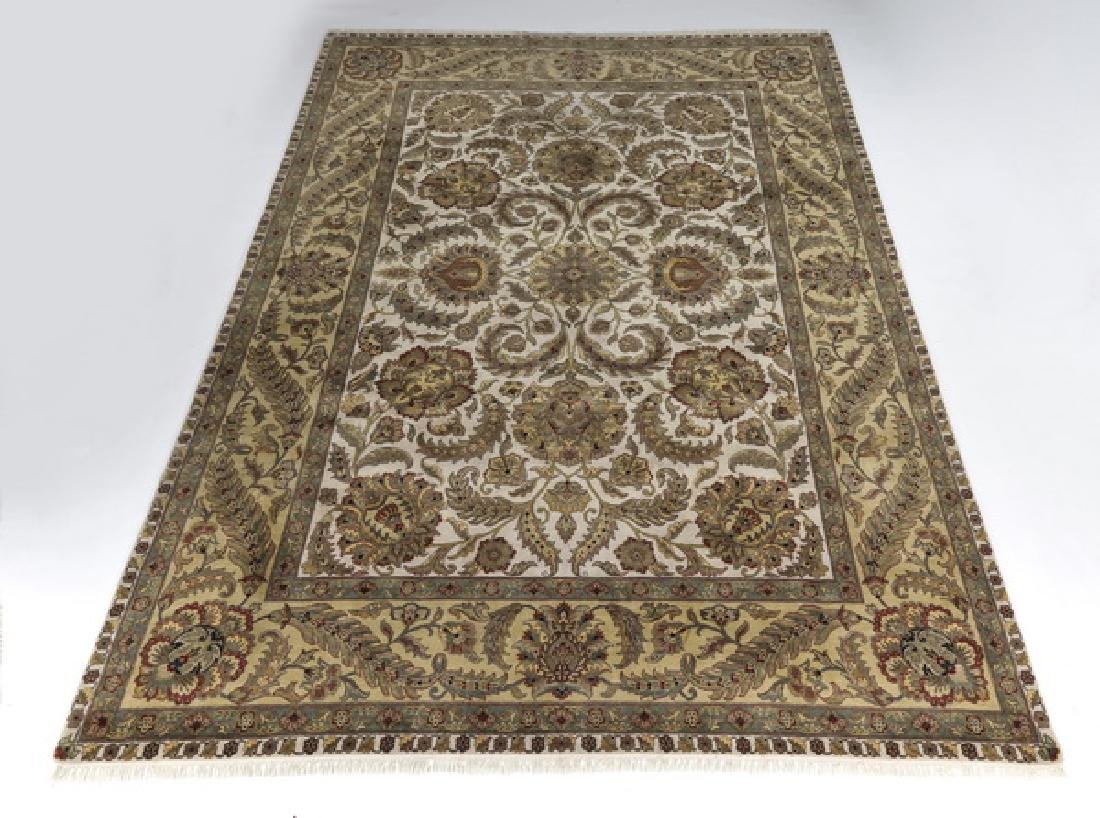 Hand knotted wool Indo-Oushak rug, 14 x 10