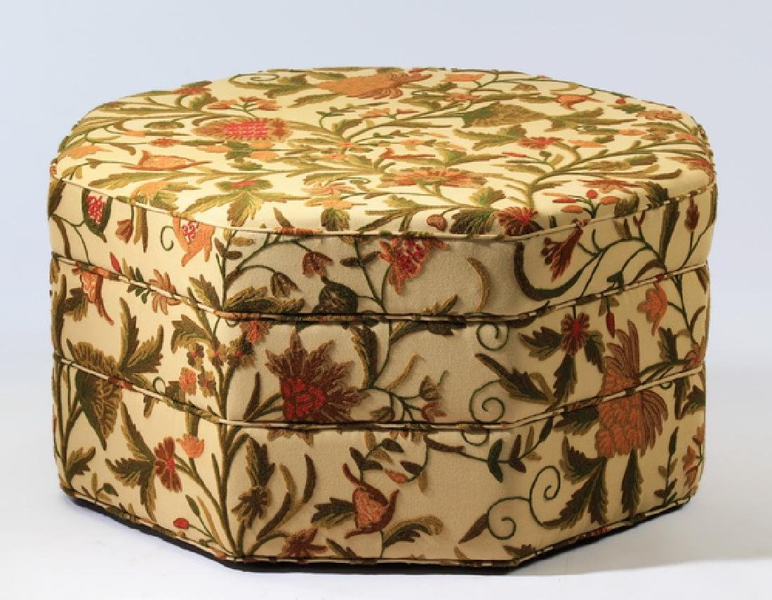 Custom made ottoman w/ crewelwork upholstery
