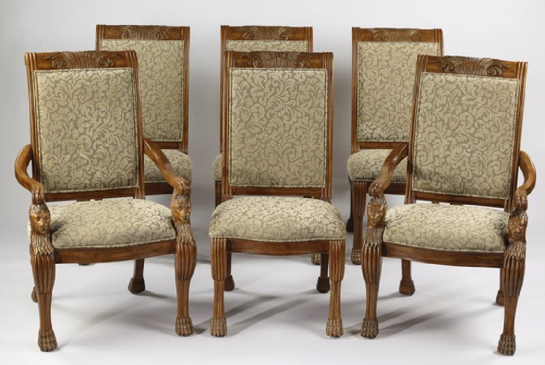 (6)  Italian mahogany dining chairs in damask