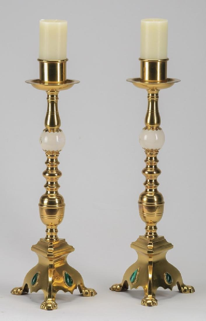 "(2) Gilt brass candlesticks, 17""h"