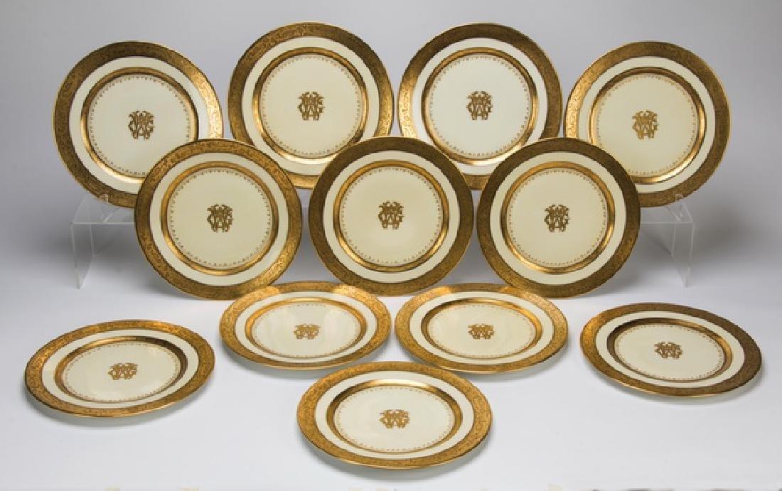 Set of 12 Bavarian monogramed porcelain plates