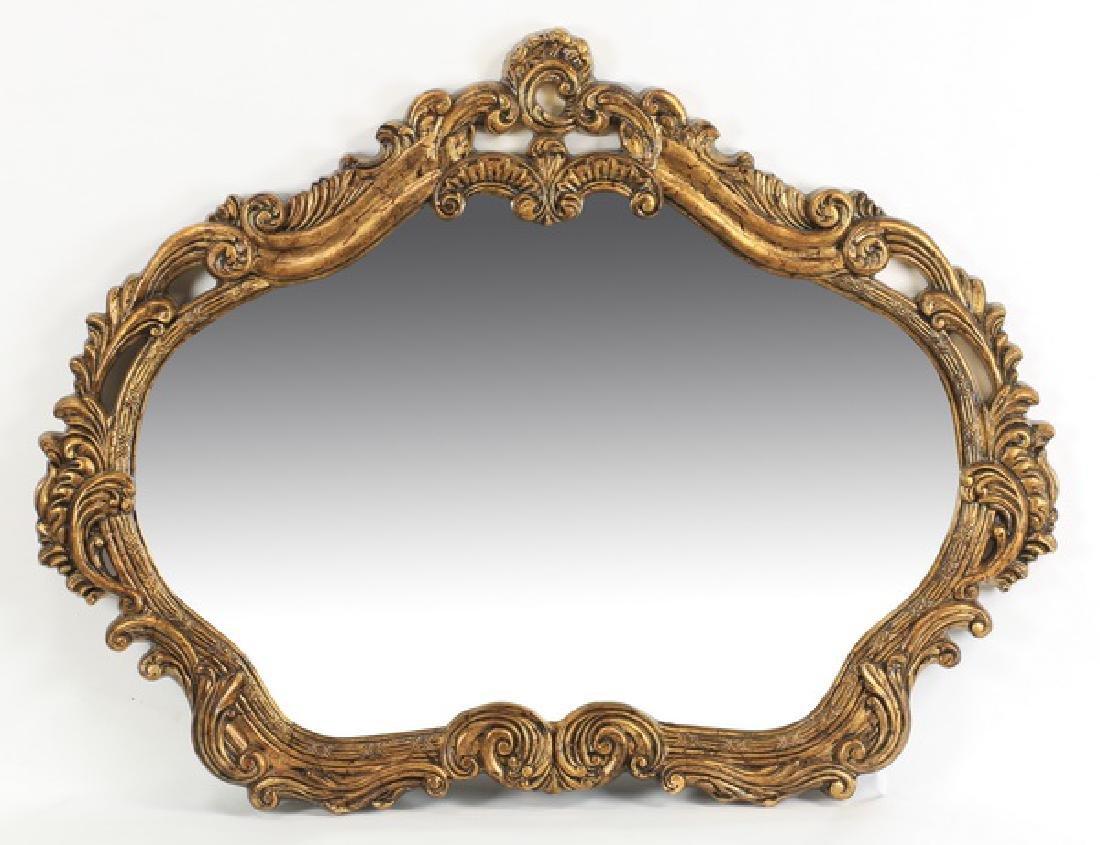 """Contemporary gilt Rococo style mirror, 54""""w"""