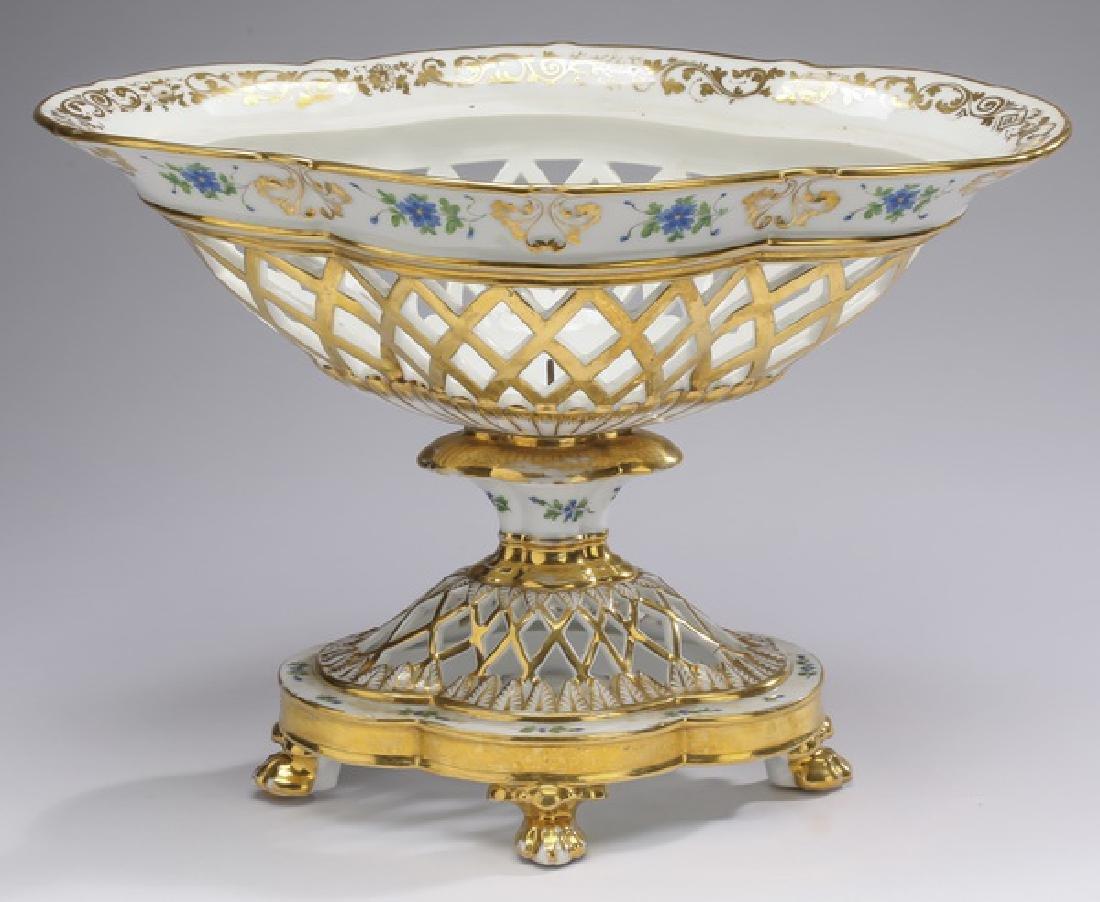 Early 20th c.  Porcelain & gilt navette centerpiece
