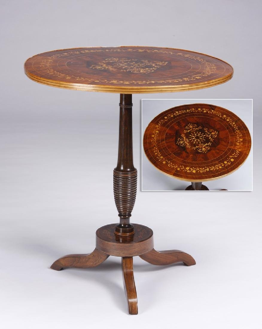 19th c. marquetry inlaid center table