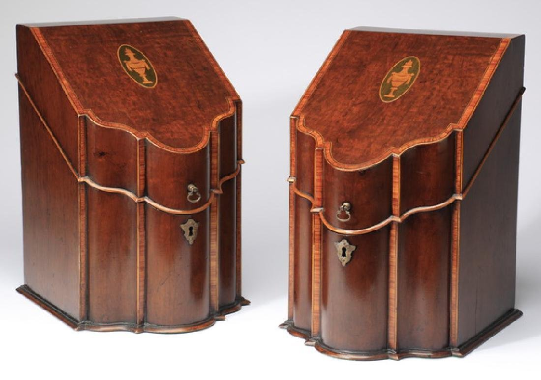 (2) George III style mahogany knife boxes