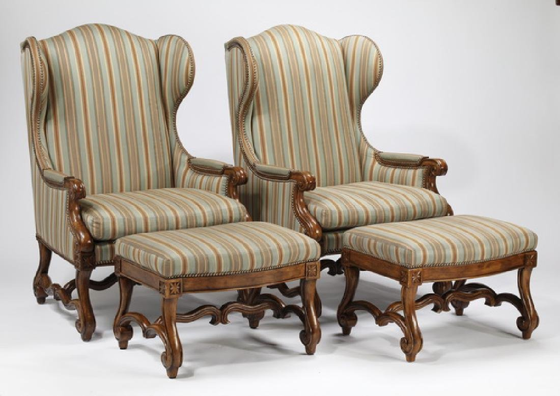 (2) Ferguson Copeland wingback chairs w/ ottomans