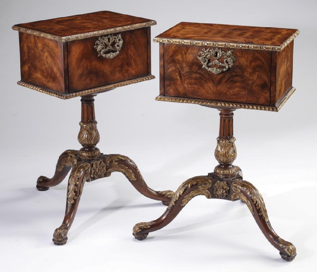 (2) Side tables in the style of  traveling boxes