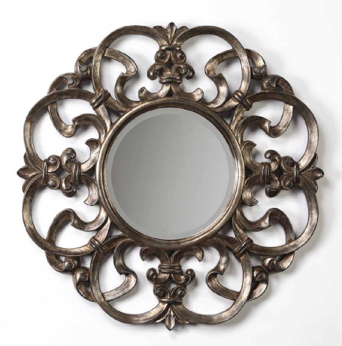 "Contemporary bronzed circular mirror, 31""dia"
