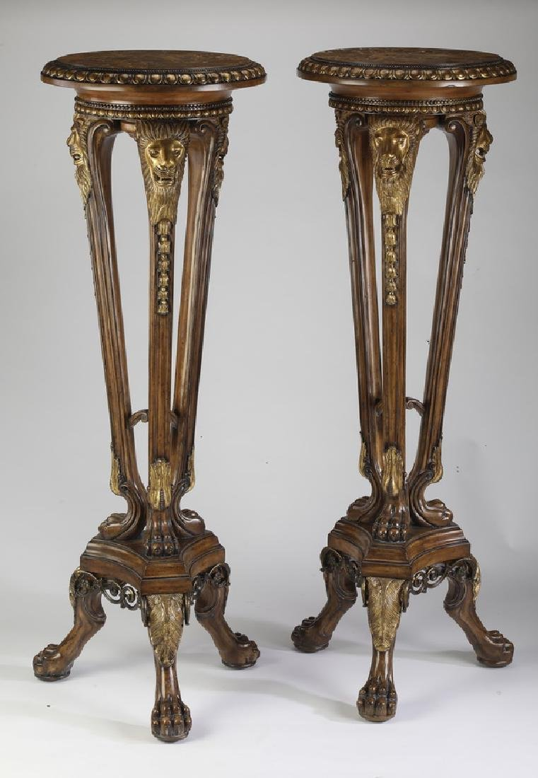 (2) Maitland Smith marble top mahogany pedestals
