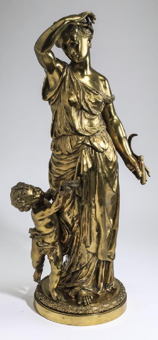 """Continental bronze sculpture, goddess Ceres, 38""""h"""