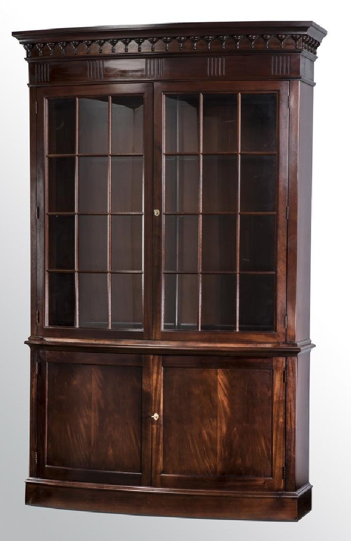"Hickory Chair demi-lune vitrine or bookcase, 94""h"