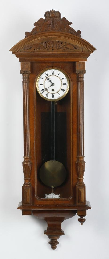 American carved walnut regulator clock