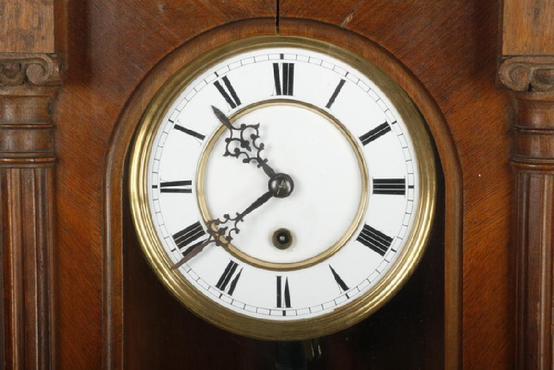 American carved walnut regulator clock - 2