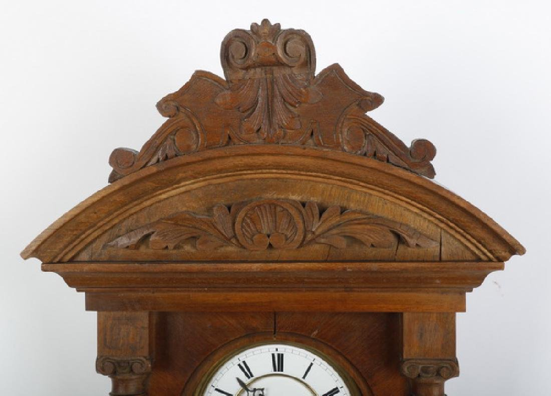 American carved walnut regulator clock - 3