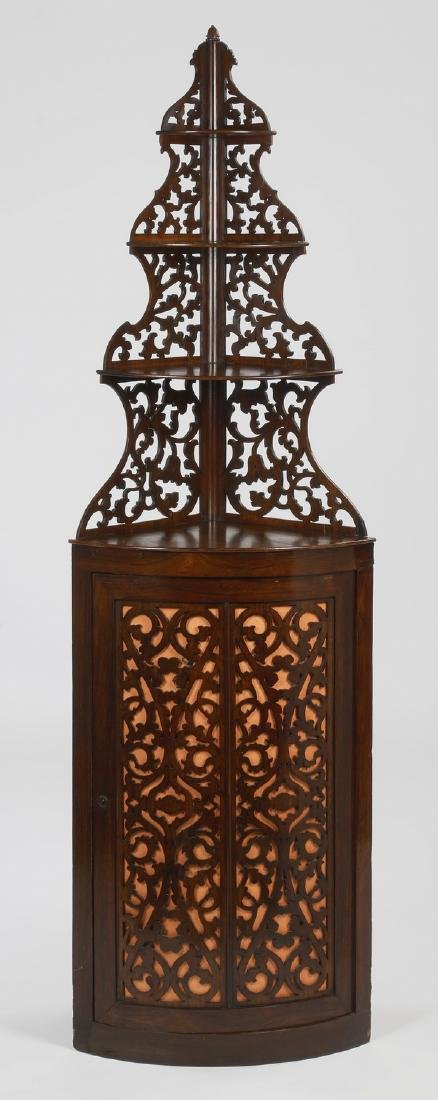 "19th c. French carved rosewood corner etagere, 83""h"
