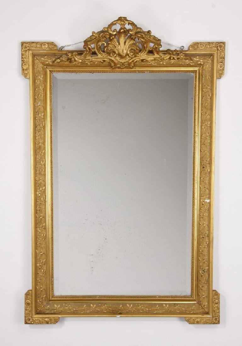 "19th c. French carved giltwood mirror, 52""h"