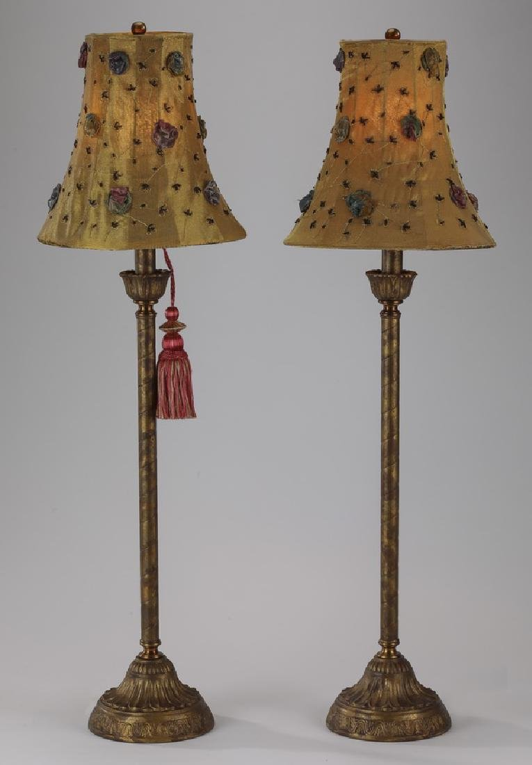 Pair of contemporary table lamps w/ floral shades