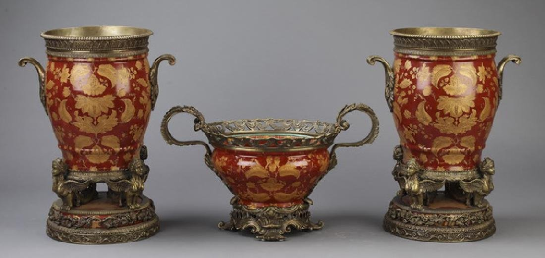 3 Pc gilt mounted porcelain vase garniture set