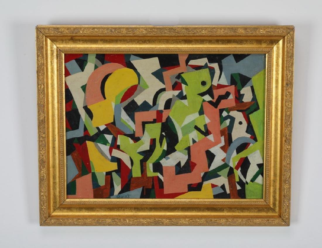 Walter Quirt (American) signed geometric O/c