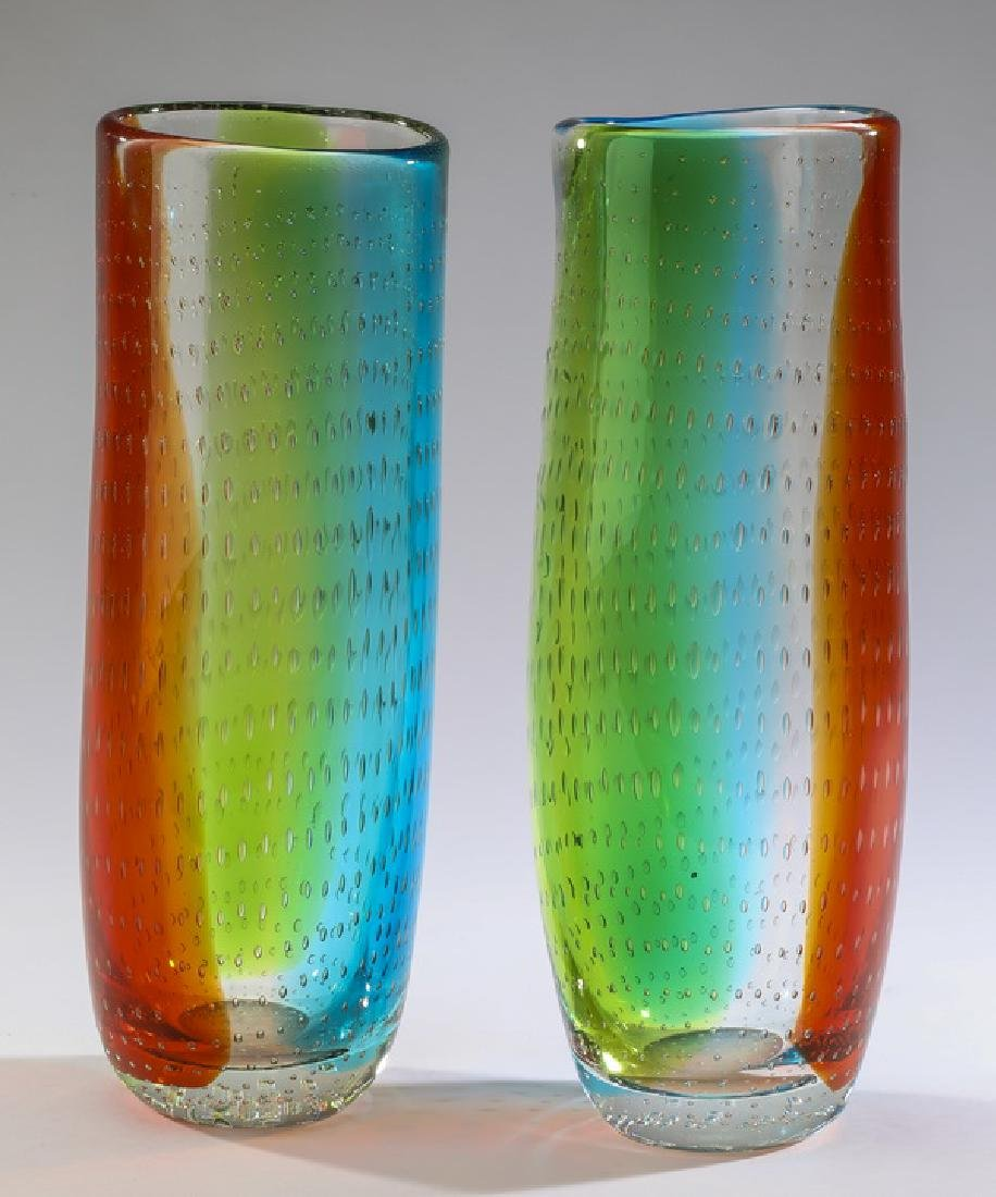 (2) Murano 'bullicante' art glass vases, signed