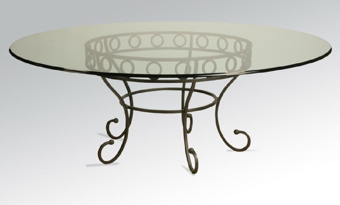 Contemporary table with custom wrought iron base