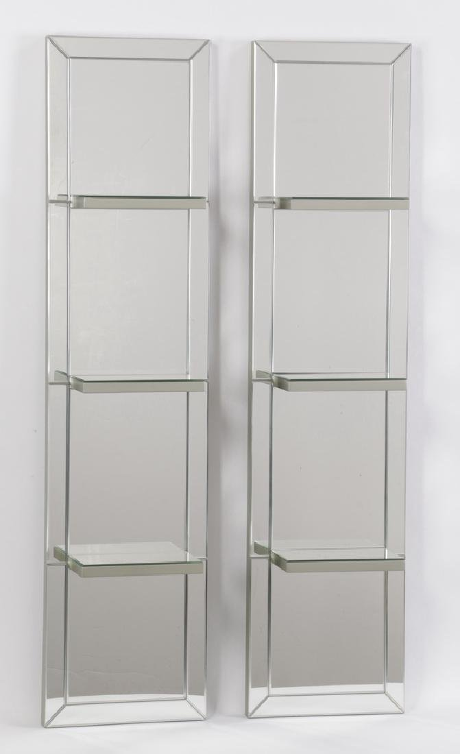 Pair of contemporary beveled mirror hanging shelves